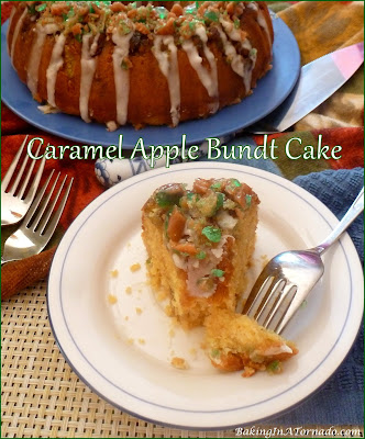 Caramel Apple Bundt Cake features favorite warm fall flavors using cinnamon chips and caramel apple pops. | recipe developed by www.BakingInATornado.com | #recipe #dessert