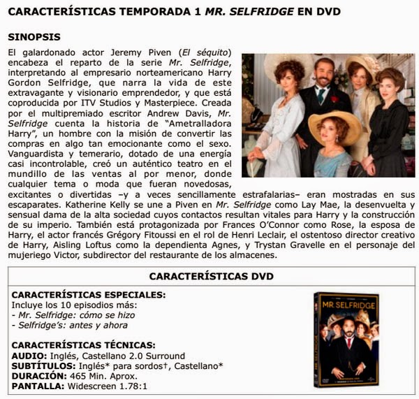 Características DVD 1ª Temporada Mr. Selfridge