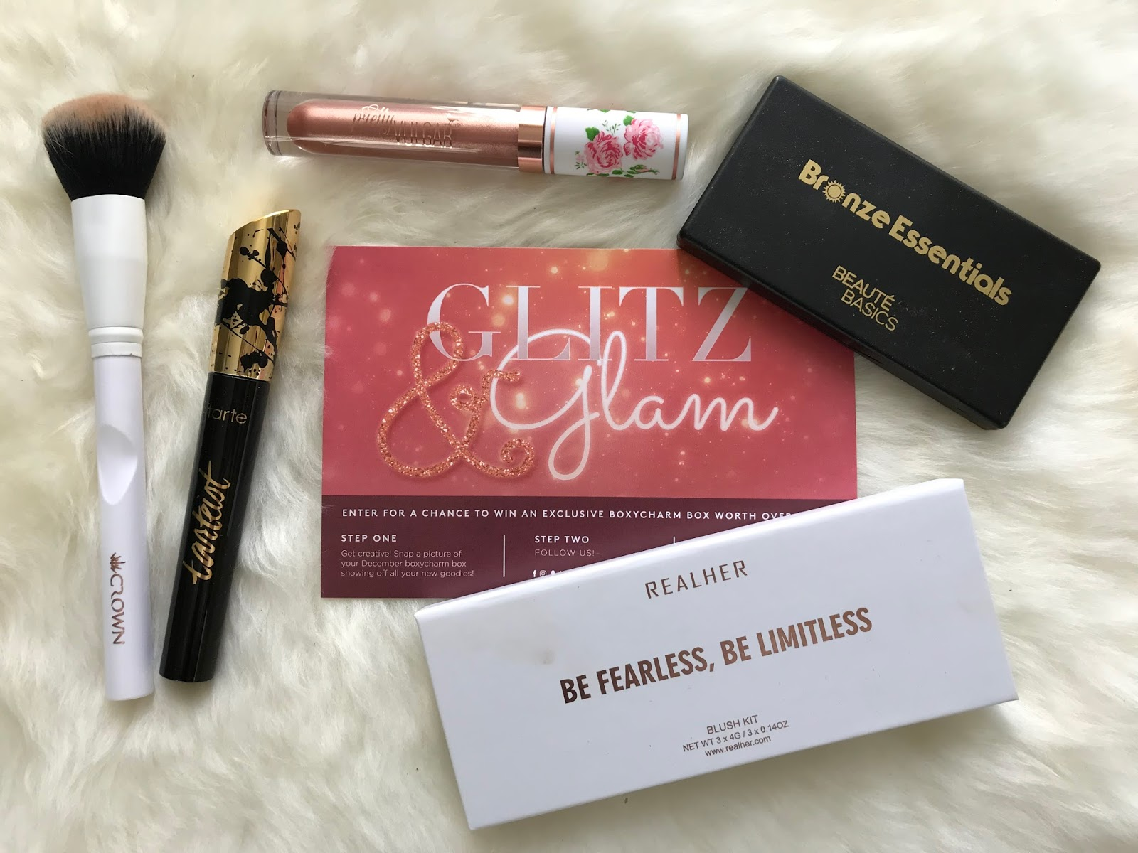Boxycharm December 2017, Priya the Blog, Nashville beauty blog, beauty, beauty buzz, Boxycharm, subscription box, Tarte, Crown Brush Deluxe Blush Brush, Tarte tarteist Lash Paint mascara, Crown Brush, RealHer, RealHer Blush Kit, Beauté Basics, Beauté Basics Bronze Essentials Palette, Pretty Vulgar, Pretty Vulgar Liquid Lipstick in Secret Sabotage,