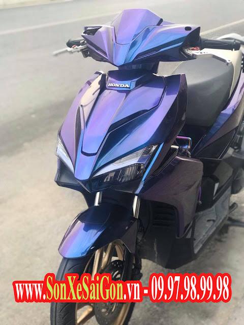 Sơn xe máy Honda Airblade 2018 màu titan ánh tím cực đẹp