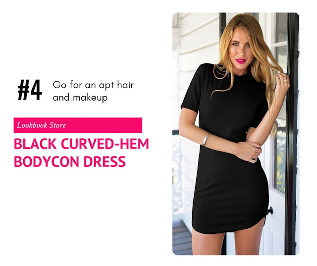 Black Curved-Hem Bodycon Dress by Lookbook Store