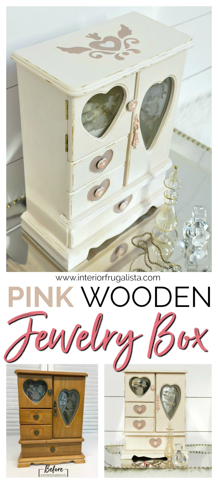 Hand Painted Pink Wooden Jewelry Box