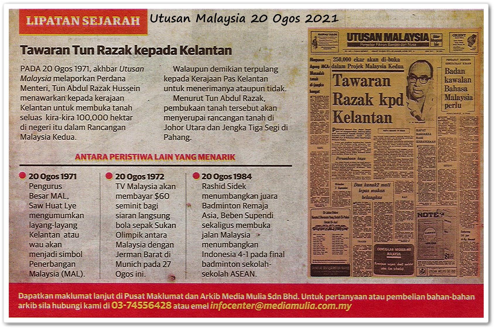 Lipatan sejarah 20 Ogos - Keratan akhbar Utusan Malaysia 20 Ogos 2021