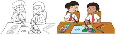 sketsa gambar cerita berdasarkan tema yang telah kamu tentukan pada Pembelajaran 2