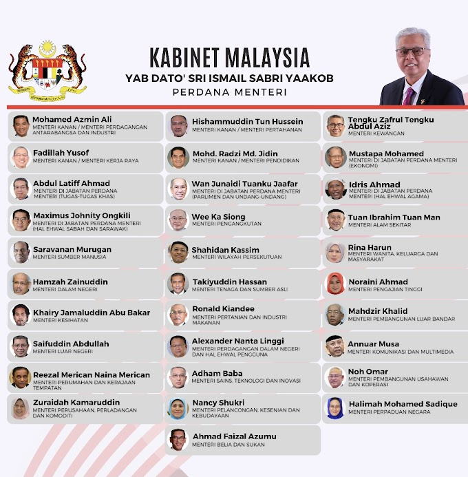 SENARAI PENUH JEMAAH MENTERI KABINET MALAYSIA 2021