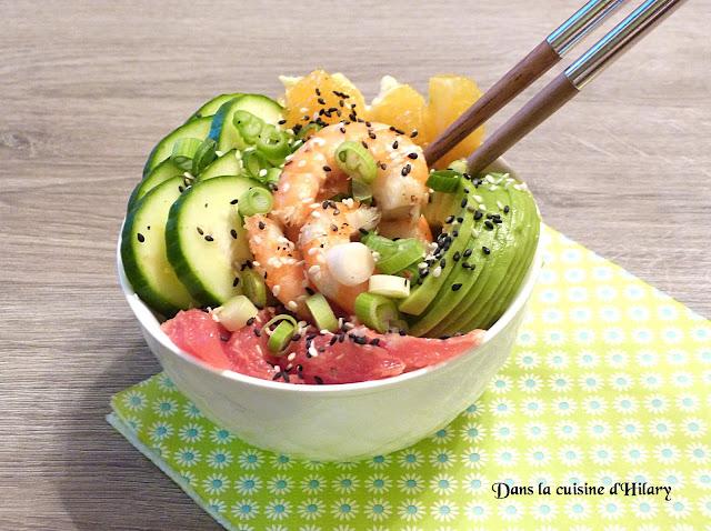 Poke bowl à la crevette marinée