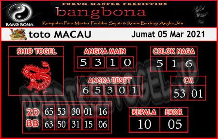 Prediksi Bangbona Toto Macau Jumat 05 Maret 2021