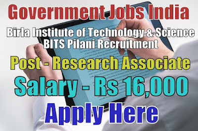 BITS Pilani Recruitment 2017 Apply Here