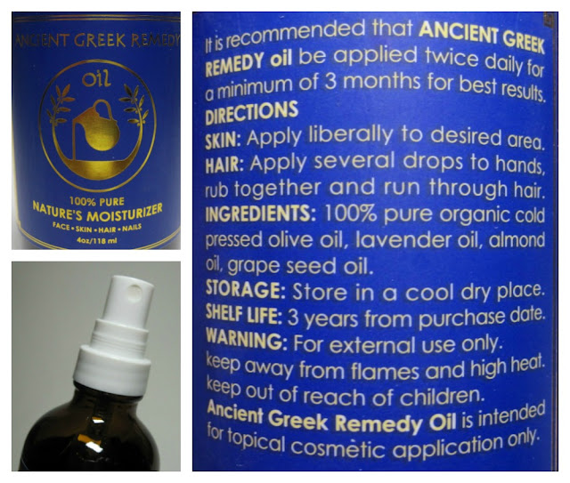 Ancient Greek Remedy Oil packaging