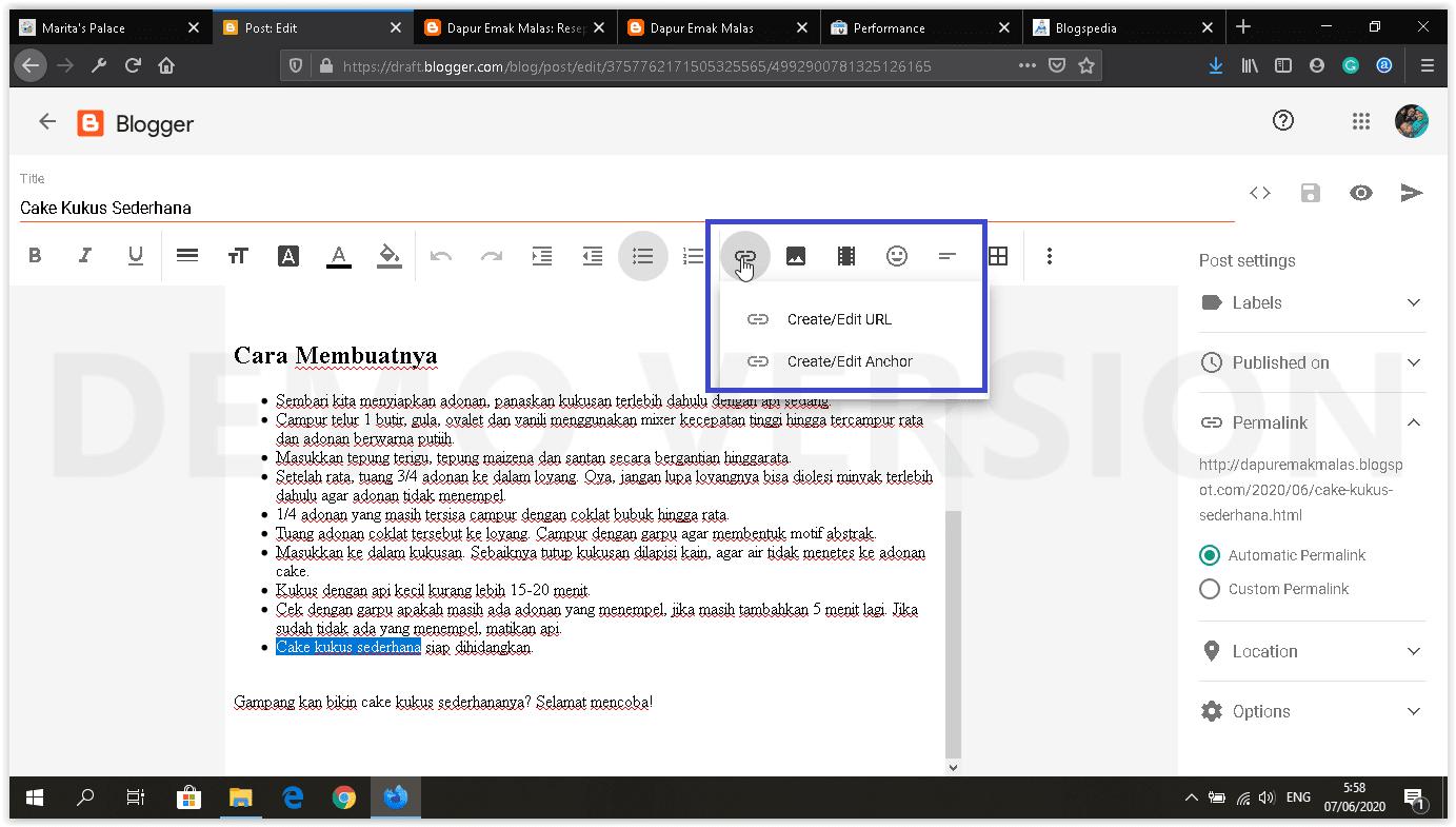 dashboard blogger baru insert link