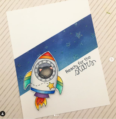 Reach for the stars by Claire features Cosmic Newton from Newton's Nook Designs; #newtonsnook, #cardmaking