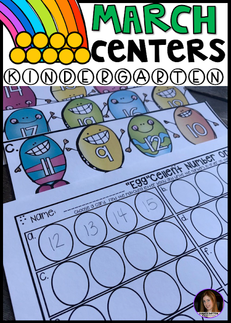Spring into March Math and Literacy Centers is 248 pages full of fun hands-on math and literacy centers that are perfect for your kindergartners to help build a strong foundation in math, number sense and literacy skills.