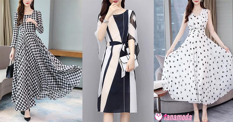 Black and White Printed Dresses