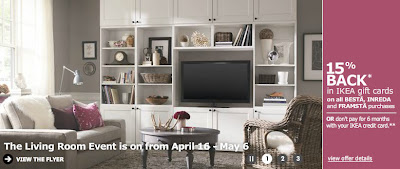 IKEA Canada: 15% Back in IKEA Gift Cards with Living Room Event Purchase (
