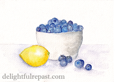 Blueberry Crumble - Blueberry Crisp - with the crispiest crumble ever (this image, my watercolor sketch of blueberries and lemon) / www.delightfulrepast.com