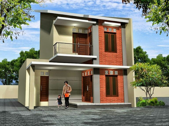 Design of a 2-storey house with a combination of red bricksh