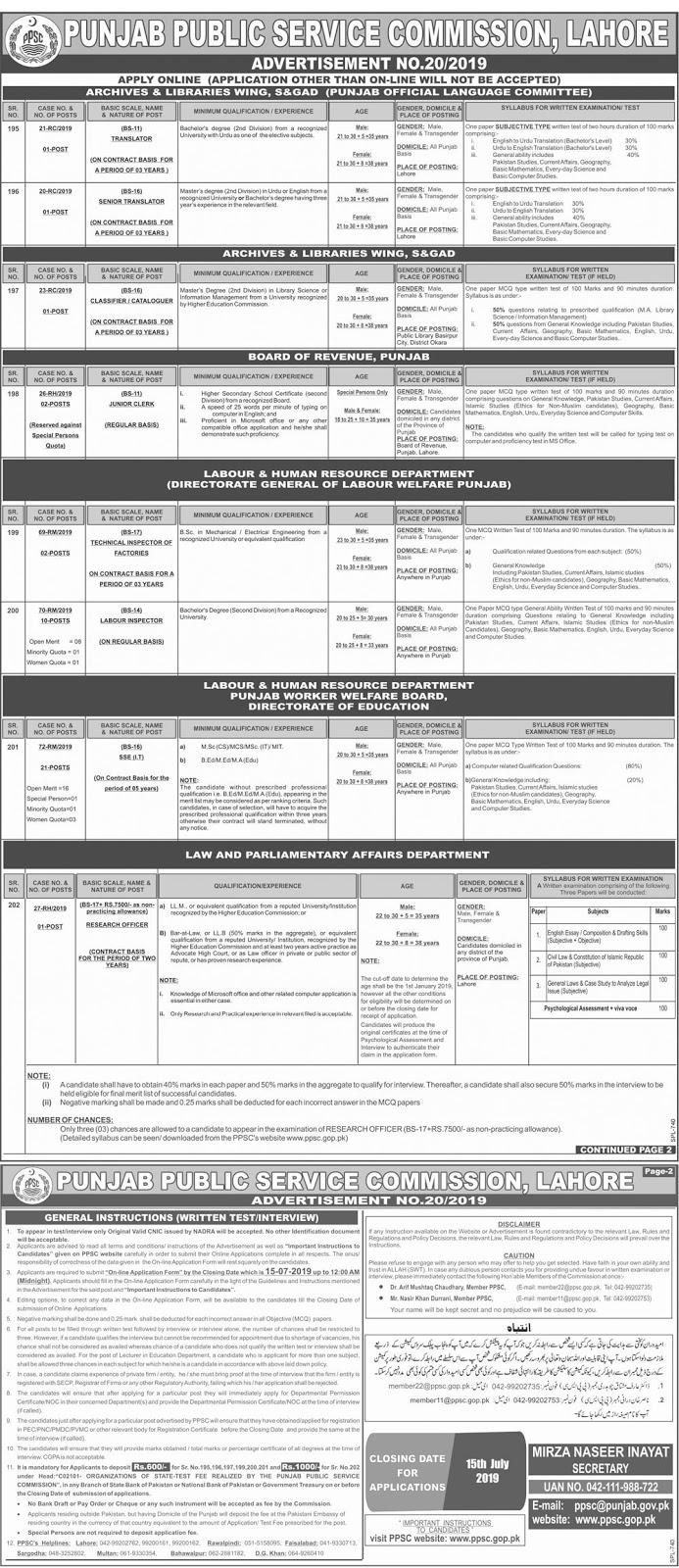 PPSC Jobs announcement 2019 | Public Service Commission of Punjab