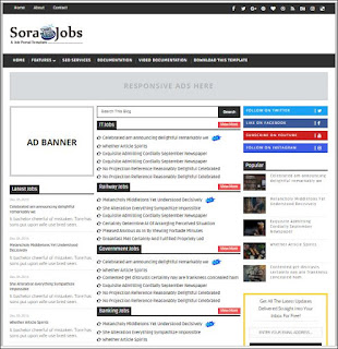 Sora Jobs - Responsive Blogger Templates Without Footer Credit