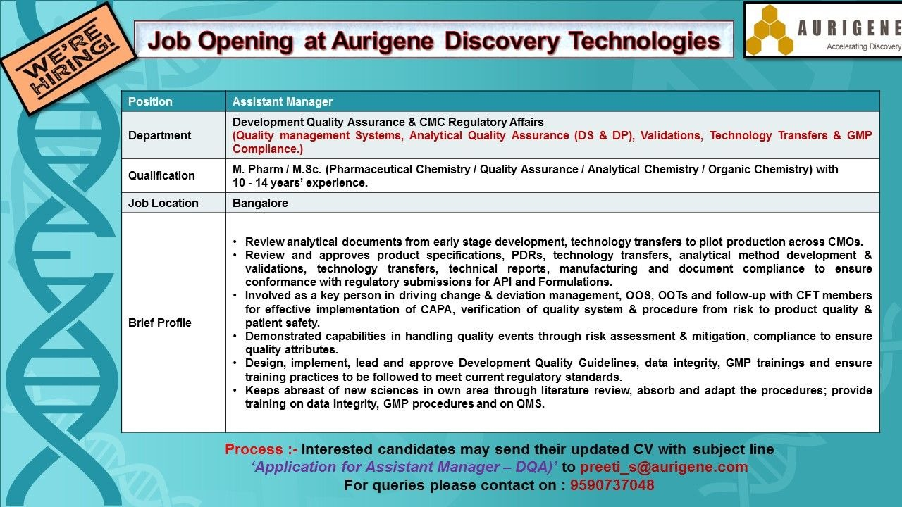Aurigene Discovery Technologies Job Openings For Dqa Regulatory Affairs Apply Now Pharmaceutical Guidance
