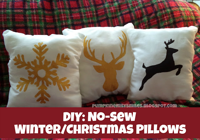 DIY: No-Sew Winter/Christmas Pillows