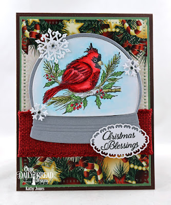 Our Daily Bread Designs Stamp Set: Winter Cardinal, Paper Collection: Christmas 2017, Custom Dies: Snow Globe Snow Crystals, Layered Lacey Ovals, Snowflake Sky