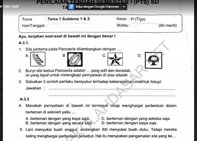 Soal Ulangan Kelas 3 K-13 Tema 1 Subtema 1 dan 2