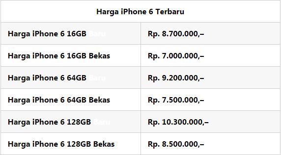 Harga iPhone 6 dan Spesifikasi Januari 2018