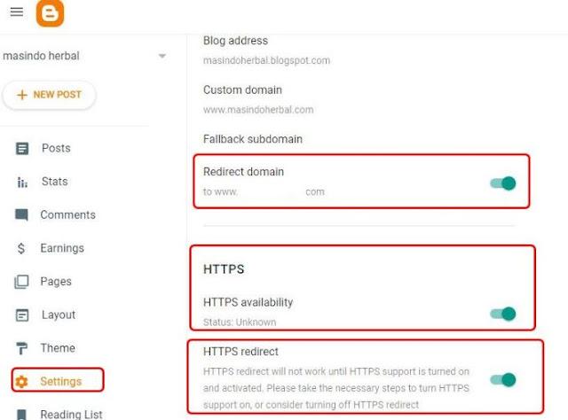 redirect https custom domain blogspot