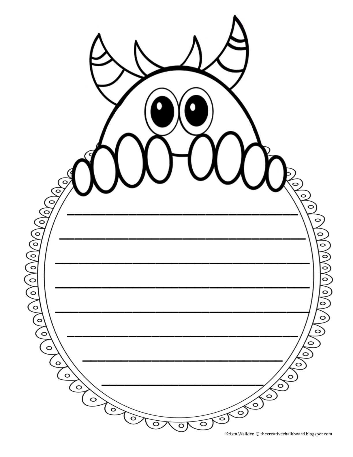 The Creative Chalkboard Day 2 Freebie Monster Writing