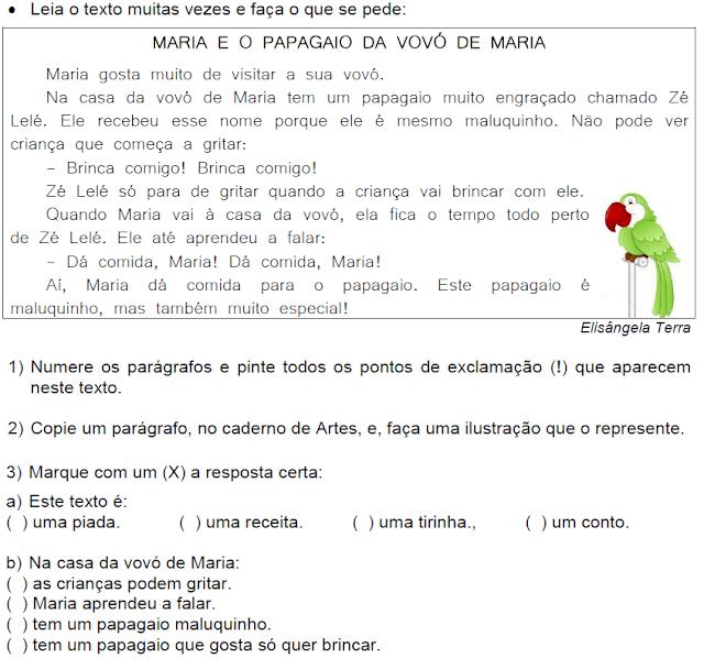 Texto MARIA E O PAPAGAIO DA VOVÓ DE MARIA, de Elisângela Terra