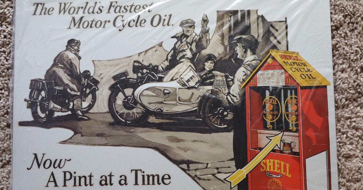 1970 Harley Davidson Evel Knievel Tribute: OldMotoDude: Shell Motorcycle Oil Sign