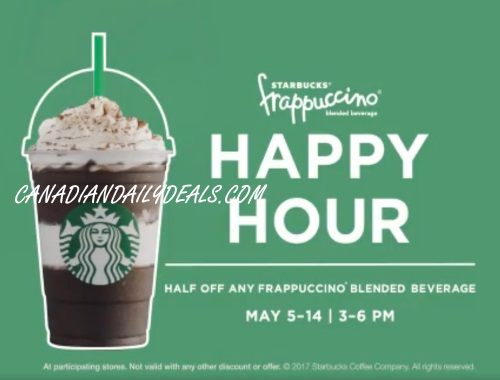 Starbucks Frappuccino Happy Hour Half Price Frapps