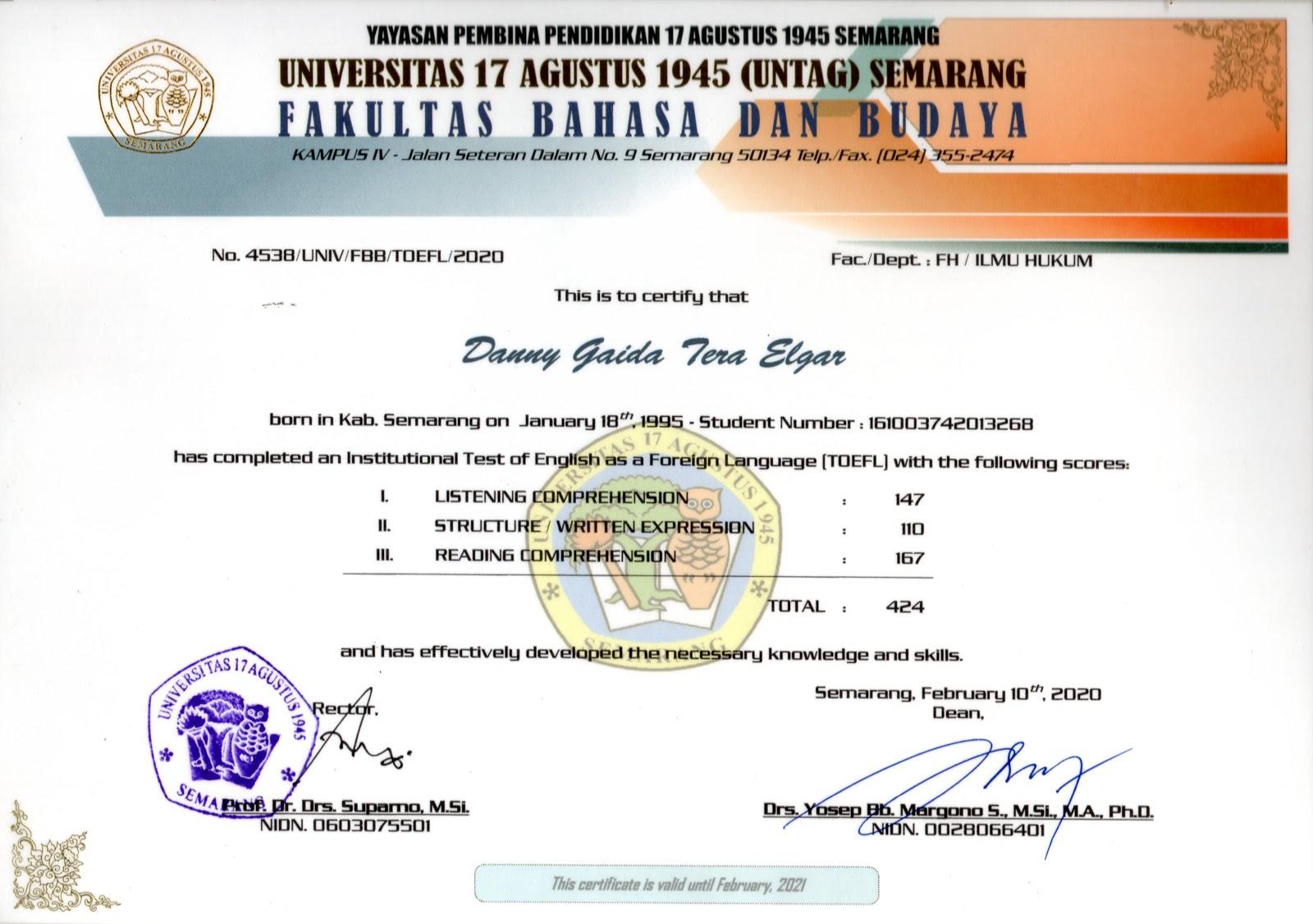 SERTIFIKAT TOEFL Fakultas Hukum Universitas 17 Agustus 1945 (UNTAG) Semarang | Skor Nilai Hasil Ujian TOEFL : 424 | Sertifikat ini berlaku hingga Februari 2021