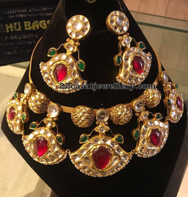Polki Necklace with Earrings