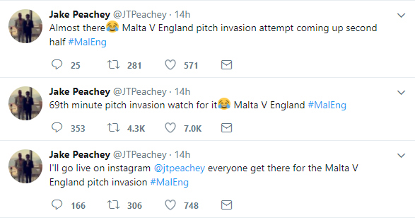 England fan Jake Peachy takes to Twitter to update everyone on his intentions