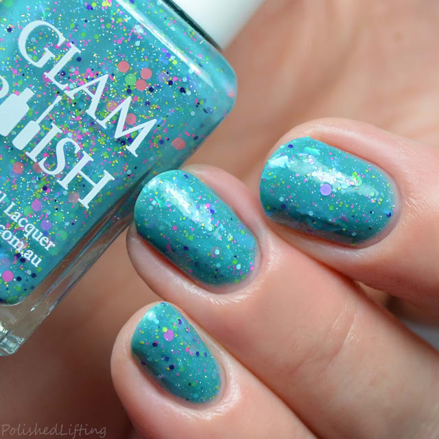 teal crelly glitter nail polish
