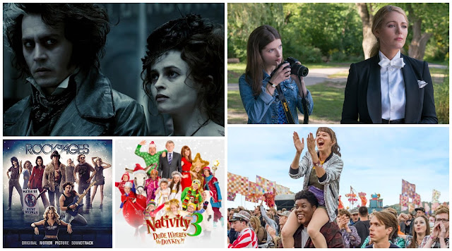 Collage - Sweeny Todd, Rock Of Ages, Nativity 3, The Festival and A Simple Favour