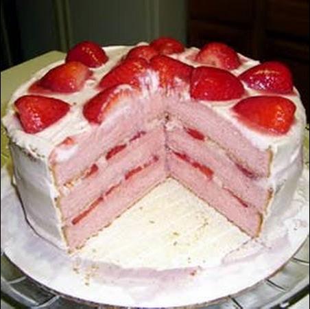 Strawberry Cake From Scratch Using Fresh Strawberries