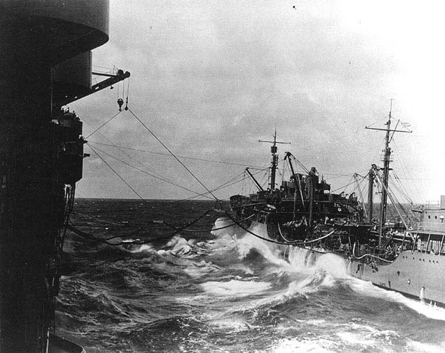 USS Neosho refuels USS Yorktown, 1 May 1942 worldwartwo.filminspector.com