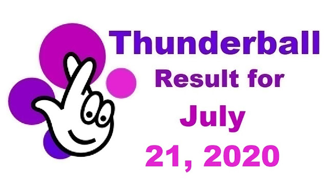 Thunderball Results for Tuesday, July 21, 2020