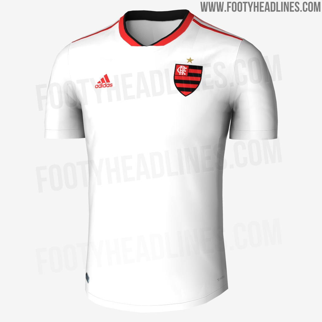 8b6413822a The Flamengo 2018 away shirt is completely white with a red and black EQT  collar and red 3 Stripes on the shoulders. Caixa is expected to feature as  main ...