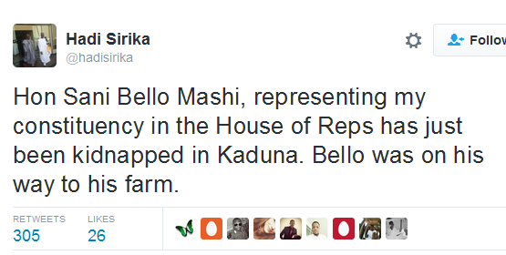 House of Reps. Member kidnapped in Kaduna State