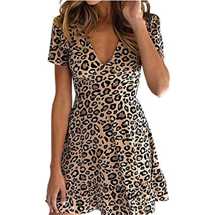 AMAZON - V Neck Leopard Ruffle Short Sleeve Women's Dress