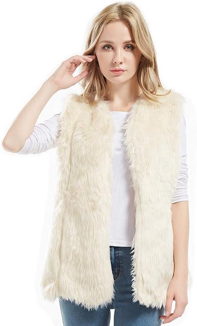 Good Quality Cream Faux Fur Vest For Women
