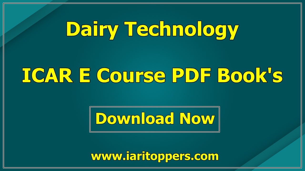 Dairy Technology ICAR E course Free PDF Books Download E Krishi Shiksha Agrimoon