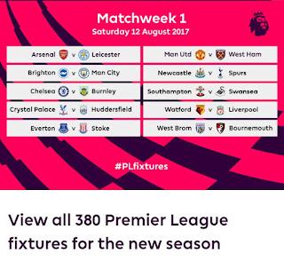 Epl 2017/18 fixtures