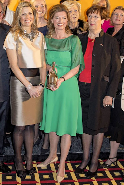 Queen Maxima of the Netherlands businesswoman Vivienne Eijkelenborg and Dutch politician Annemarie Jorritsma attend the 35th edition of the Prix Veuve Clicquot Businesswoman of the Year ceremony at the Grand Hotel