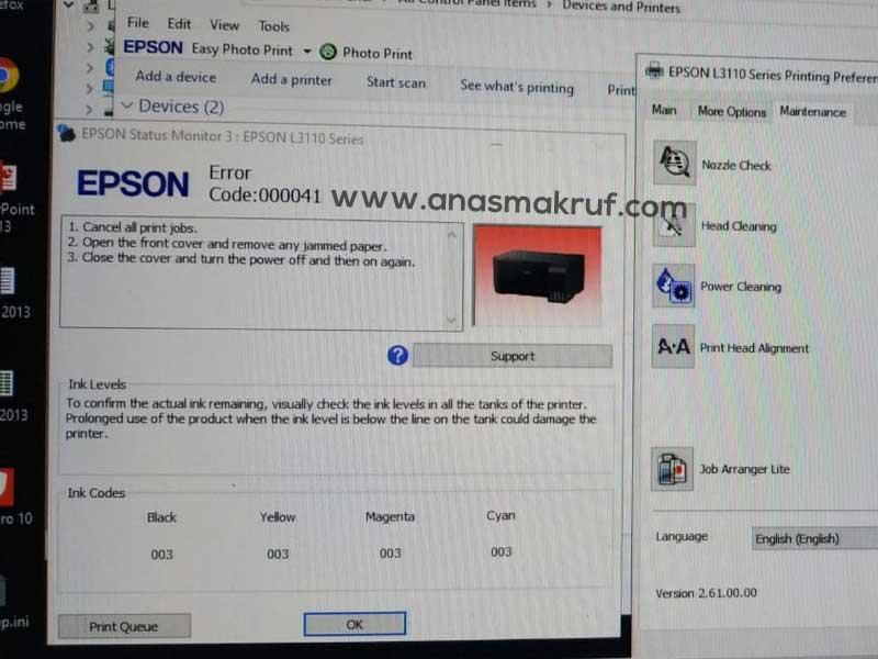 mengatasi epson l3110 error code 000041