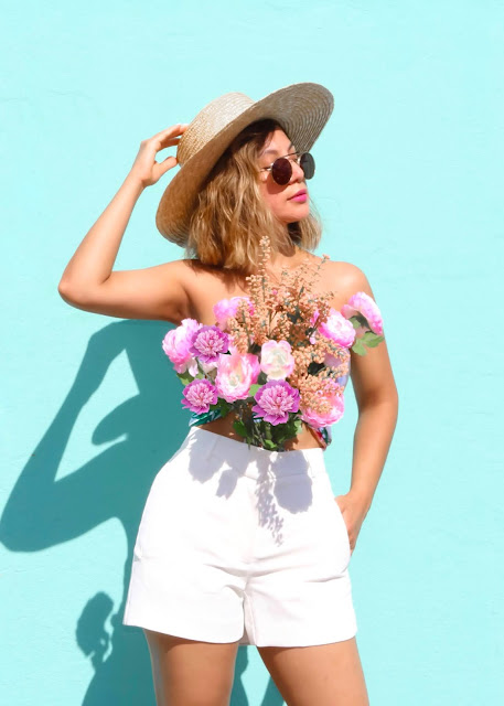real flower top with white shorts