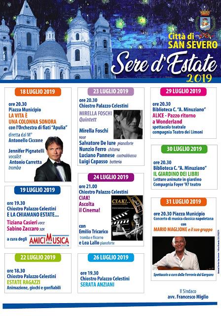 """""""Sere d'Estate"""", l'Amm.ne Comunale ufficializza l'edizione 2019. Il programma"""